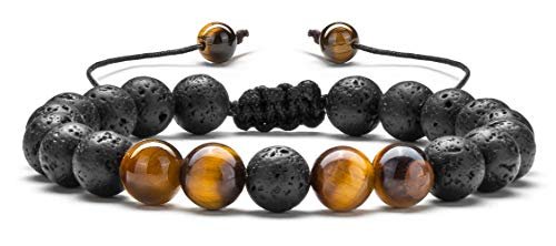 Hamoery Men Women 8mm Lava Rock Aromatherapy Anxiety Essential Oil Diffuser Bracelet Braided Rope Natural Stone Yoga Beads Bracelet Bangle(Tiger Eye)