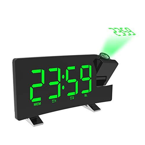 VORRINC Wecker Digital, Projektionswecker Radiowecker mit Projektion, LED Wecker, Reisewecker, FM Radio USB-Anschluss, Tischuhr, 3 stufige Helligkeit 180 ° Projektion, Display abschaltbar dimmbar