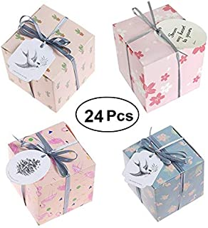 Naranqa 24 Pieces Gift Boxes Candy Boxes Party Favor Wedding Valentine's Day Birthday Party Baby Shower Gift Bags 4 Cute Styles with Strings(Cactus Sakura Flamingo)
