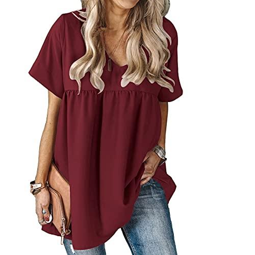 Vestido De Camiseta Plisado Suelto De Manga Corta con Cuello En V De Estilo Nuevo De Primavera Y Verano para Mujer