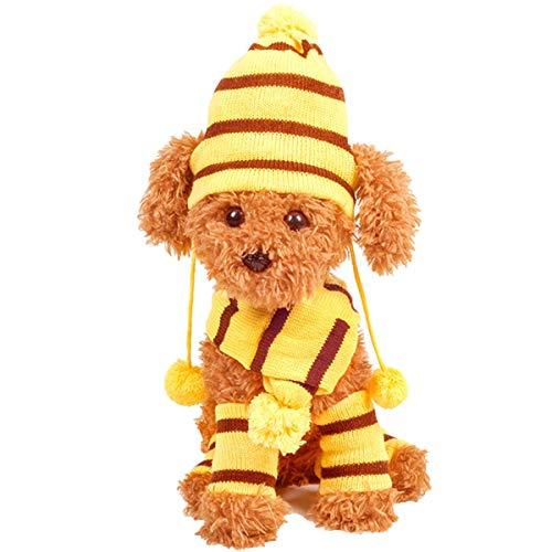 Juego de disfraz de invierno para cachorro de perro, bufanda de sombrero a rayas y calentadores de piernas para perros pequeos y medianos