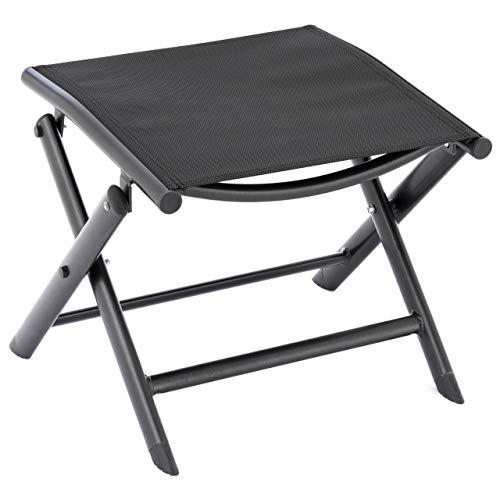 Nexos klappbarer Alu Hocker Sitzhocker Garten-Hocker - Rahmen schwarz Textilene schwarz - Klapphocker für Balkon Terrasse Garten Schwimmbad faltbar