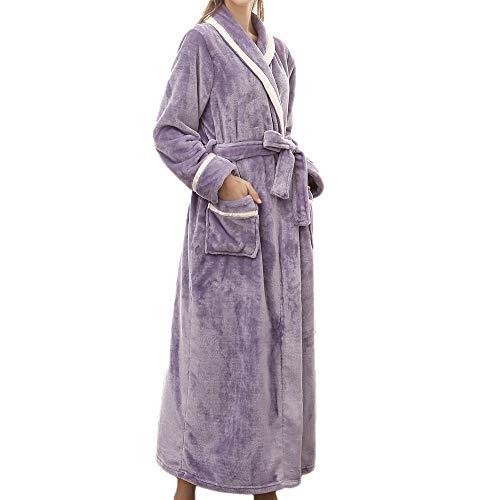Bata de baño Talla Grande Pijamas para Mujer Pijamas de Invierno Verano alargados para Mujer Albornoz Empalme Ropa para el hogar Pijamas De Bata De Manga Larga de Yesmile