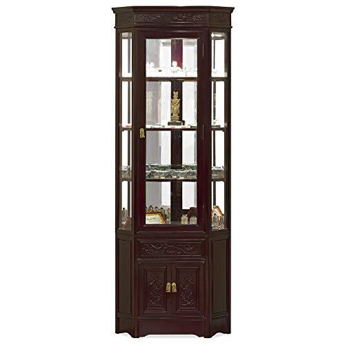 China Furniture Online Rosewood Corner Cabinet, 20 Inches Flower and Bird Motif Display China Cabinet Dark Cherry Finish