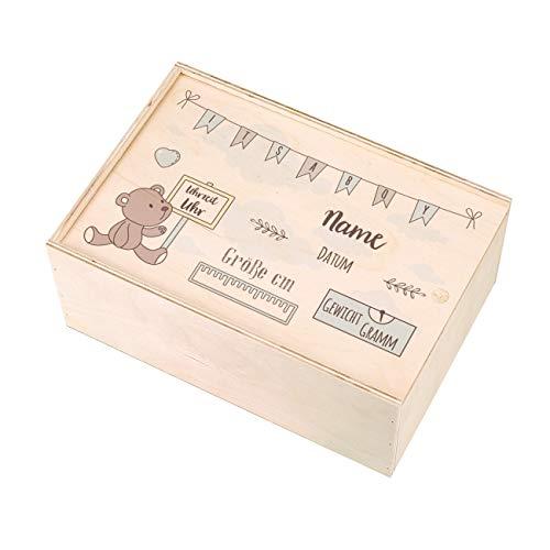 Striefchen® Holzbox zur Erinnerung an das erste Babyjahr oder als Geschenk zur Geburt - mit Namen des Kindes und Geburtsdaten bedruckt Jungen