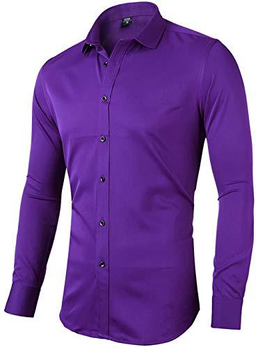 INFlATION Herren Hemd aus Bambusfaser umweltfreudlich Elastisch Slim Fit für Freizeit Business Hochzeit Reine Farbe Hemd Langarm,DE L (Etikette 42),Violett