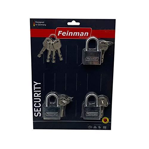 3-delige 40 mm hangslot veiligheidsslot incl. 4 x algemene sleutel - gelijksluitend met 16 sleutels