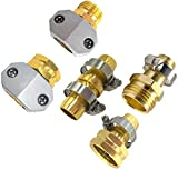 cozyou 5-Pack Heavy Duty Female and Male Hose Connector, Garden Hose Repair Mender Kit with Clamp