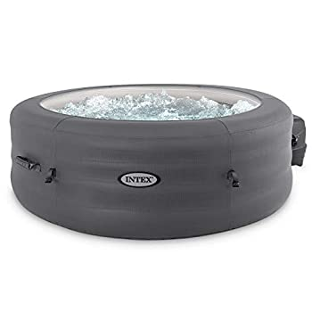 Intex 28481E Simple Spa 77in x 26in 4-Person Outdoor Portable Inflatable Round Heated Hot Tub Spa with 100 Bubble Jets Filter Pump and Cover Gray