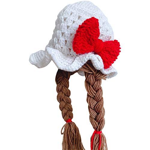 KERDEJAR Lindo idílico Hecho a Mano Tejido a Mano bebé niña Twist Braid Hat Pelucas Infantiles Brades Kid Crochet Gorras con Trenzas Accesorios de fotografía Protección auditiva Sombreros