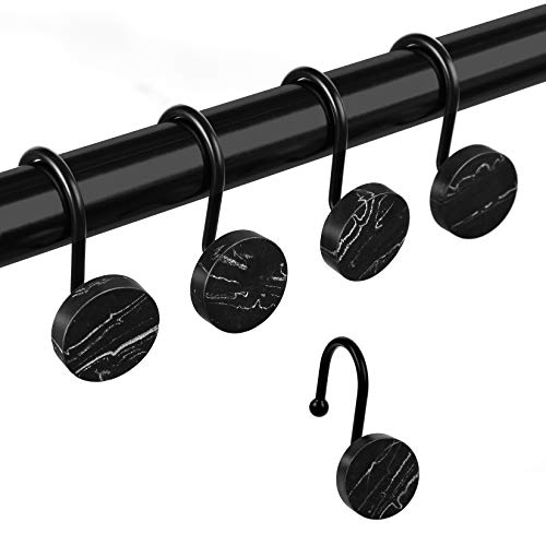 Shower Curtain Hooks, Marble Home Decorative Rust Resistant Shower Curtain Rings for Bathroom, Glide Shower Curtain Hooks for Shower Liner, Set of 12 for Shower Rod (Black)