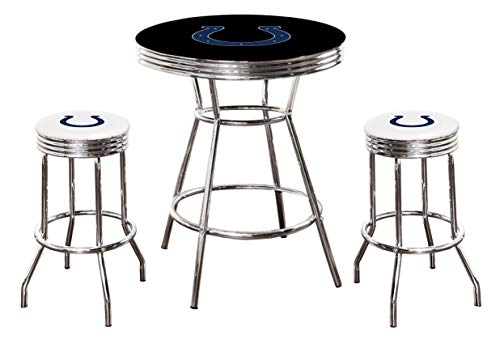 3-Piece Set Black Pub/Bar Table with a Football Team Logo and 2-29' Swivel Stools Featuring a Team Logo Decal on Colored Vinyl Seat Cushions (Colts on White)