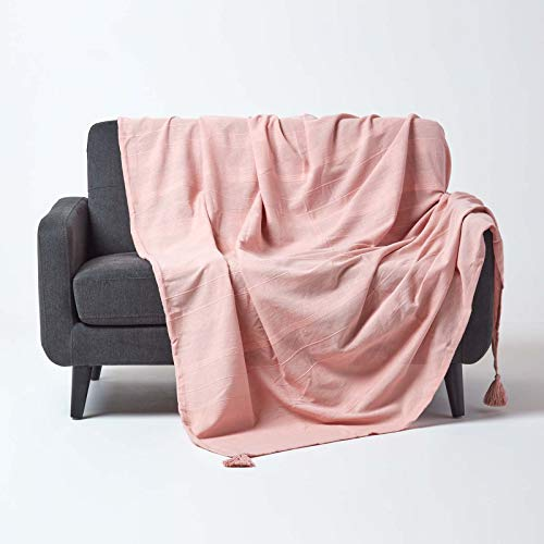 HOMESCAPES - Rajput Ribbed Throw/Bedspread - 150x200 cm (60 x 80 Inches) - Plain Pink - Handmade 100% Cotton - Suitable for most 1 Seater Sofas and Single beds - Easy care washable at home