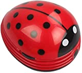 Cute Portable Beetle Ladybug Cartoon Mini Desktop Vacuum Desk Dust Cleaner(Red#002)