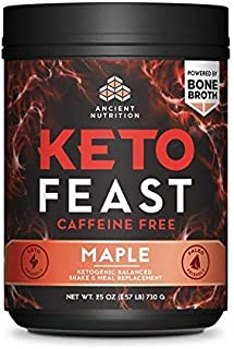 Ancient Nutrition KetoFEAST Powder, Maple, 15 Servings - Keto Diet Meal Replacement with Ketogenic Superfoods for Ketosis and Energy