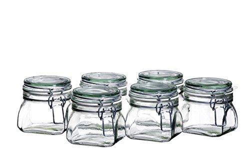 MÄSER 925338 Gothika, Einmachgläser klein, made in Germany, 6er Set à 500 ml, Vorratsgläser mit Deckel und Drahtbügel zum luftdichten Aufbewahren, Einkochen und Einlegen, Glas, transparent