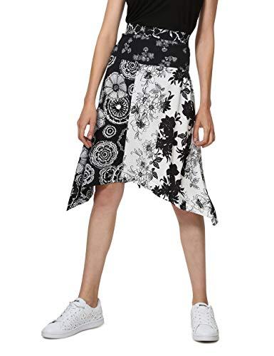 Desigual Damen Skirt Knee Paola Woman Black Rock, Schwarz (Negro 2000), 42