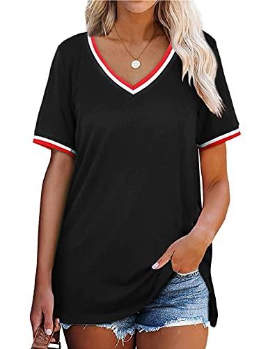 TOPLAZA Camiseta de Mangas Cortas Escote en Pico Mujer Chica Adolescentes