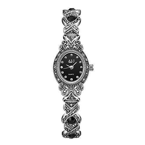 Relojes Pulsera Ovalada Mujer Retro Relojes Cristal Plata Titanio Negro Gótico