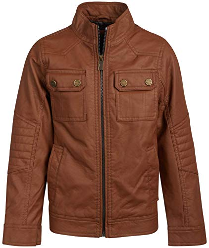 URBAN REPUBLIC Boy's Faux Leather Officer Jacket, Cognac, Size 10/12'
