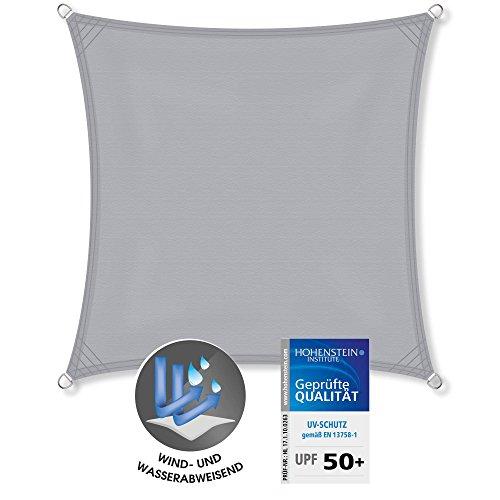 CelinaSun Sonnensegel Quadrat 2 x 2 m hell grau UPF 50+ Sonnenschutz PES Schattenspender geprüft
