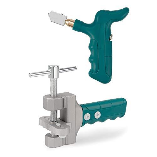 Kit de herramientas de cortador de cristal, herramienta de mano de cortador de azulejos, cortador de vidrio y azulejo DIY Kit de hogar, adecuado para: azulejos, vidrio, espejo, 2 cuchillas y 3 esteras