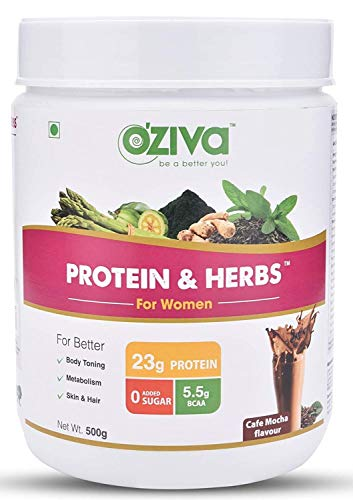 OZiva Protein & Herbs, Women, (Natural Protein Powder with Ayurvedic Herbs & Multivitamins for...