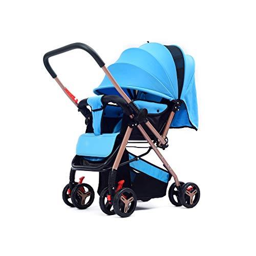 HBGGGGG Kinderwagen, vouwwagen, vierhoekige verstelbare luifel, tweewegskar met vier wielen, huidvriendelijk weefsel, aluminium hoogzichtwagen