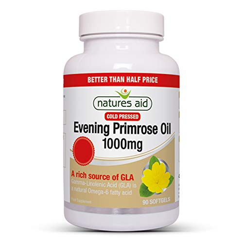 Natures Aid Omega 6 Evening Primrose Oil 1000mg, 1er Pack (1 x 90 Softgels)