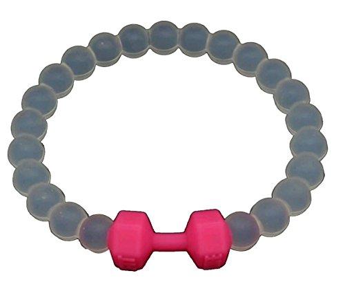 Pulsera mancuerna de mujer fitness deportista. Brazalete transparente y elastico. (silicona) Única