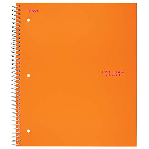 """Five Star Spiral Notebook, 1 Subject, Wide Ruled Paper, 100 Sheets, 10-1/2"""" x 8"""", Orange (38734)"""