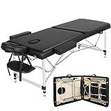 Yaheetech Lettino per Massaggi Estetista Fisioterapia Professionale Pieghevole a 2 Sezioni in Legno Faggio e Alluminio Altezza Regolabile 213 x 70 cm