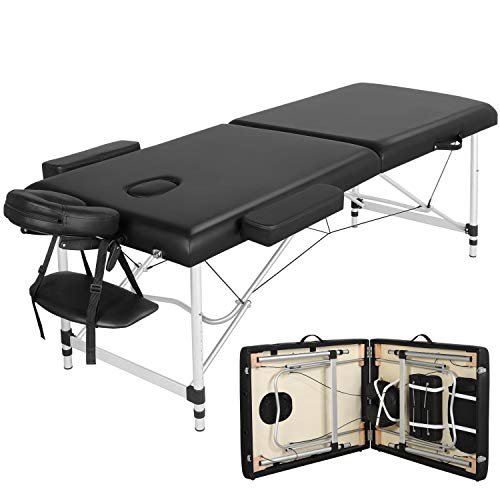 Yaheetech Mobile Massageliege Massagetisch 2 Zonen Klappbar Kosmetikliege Therapieliege Massagebett Aluminiumfüßen Größe:213 * 90cm