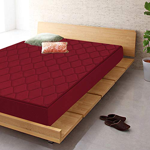Coirfit 4 Inch Single Size Foam Mattress (Maroon, 75x30x4)