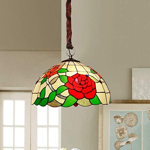 Lámpara LED de techo estilo Tiffany mediterráneo, estilo americano, cristal colorido, flores rojas, para salón, dormitorio, balcón, diámetro de 40 cm (color: luz cálida)
