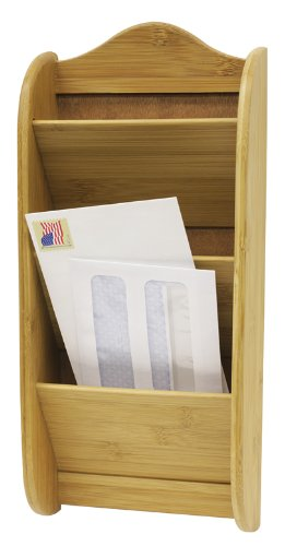 Home Basics Wall Mount 3-Tier Bamboo Letter Rack Mail Organizer and Holder, Natural