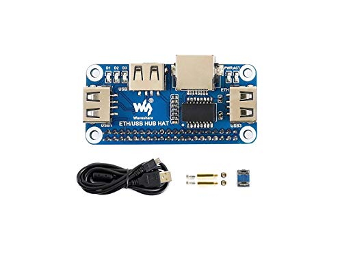 Waveshare Ethernet/USB HUB HAT for Raspberry Pi Stable Wired Ethernet Connection with 1x RJ45 Ethernet Port and 3X USB Ports Compatible with USB2.0/1.1 Fits The Zero/Zero W/Zero WH