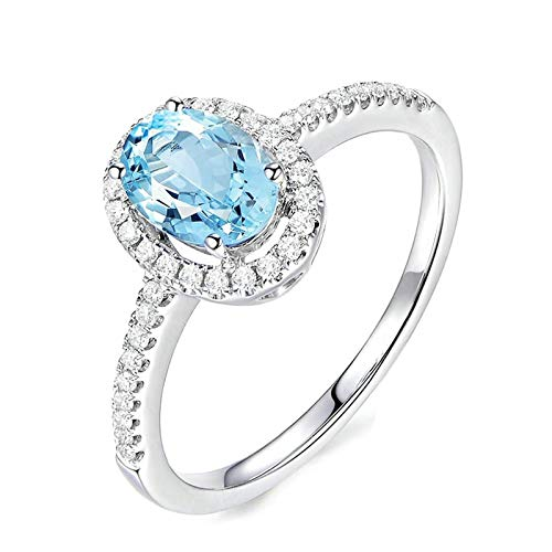 Adokiss Mujer no-metal-stamp (Fashion only) plata talla ovalada Sapphire