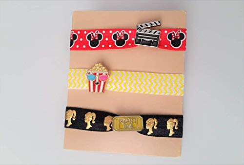 Rose Anchor Lips- Set of 3- Easter Basket Valentines Gift I Love You Charm Elastic Ponytail Holder Hair Ties or Bracelet- Heart