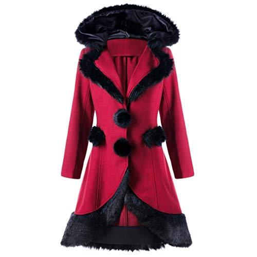 ADELINA dames jas wollen jas voor dames in zwart grijs of rood modieuze Completi winterjas met capuchon rits jas kort met stropdas riem winter lange jas jas wollmant
