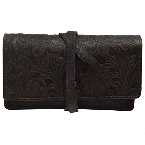 Tabaktasche braun aus echtem Leder mit Paper Fach Tabakbeutel Drehertasche (mit Musterung)