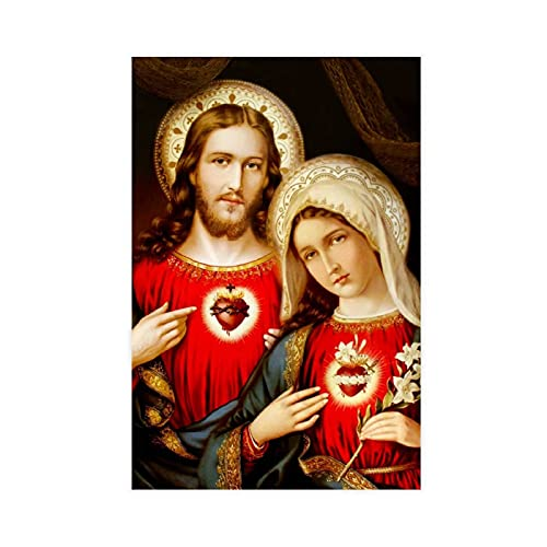 Sacred Heart Virgin Mary And Jesus Christ Custom Print Pictures Canvas Poster Bedroom Decor Sports Landscape Office Room Decor Gift Unframe-style112×18inch(30×45cm)
