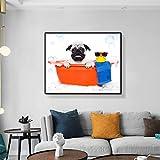 ganlanshu Perro de Pintura al óleo de Lona con decoración de Arte de Juguete de bañera de Pato Amarillo en la Pared de la bañera Moderna,Pintura sin Marco,30x45cm