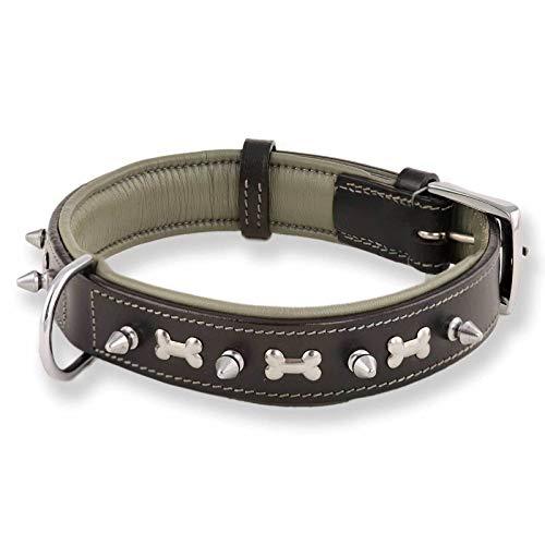 Monkimau Lederhalsband für Hunde, breites Halsband, Schwarz, M 37-43 cm