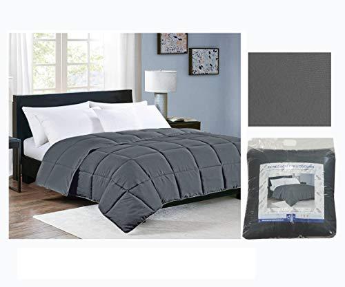COMERCIAL CANDELA FELPUDOS Y ALFOMBRAS Edredón Nórdico Reversible Colores 350gr Relleno de Fibra Hueca Color (Gris, Cama 105)