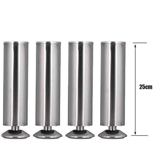 RCJCQS 4Er Set Möbelfüße Verstellbar Tischbeine Sockelfuß Möbelfuß Schrankfuß Tischfuß Sofafuß Stützfuß Edelstahloptik Gebürstet,25cm