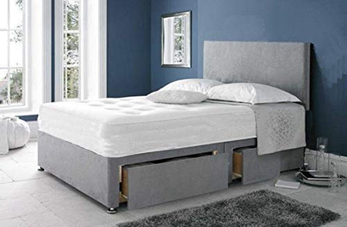 Universal Beds SUEDE FABRIC DIVAN BED SET WITH ORTHOPAEDIC SPRING MATTRESS | FREE 20' PLAIN HEADBOARD | DRAWER STORAGE AVAILABLE (4.0FT Small Double - 2 Drawers Foot End, Black Suede)