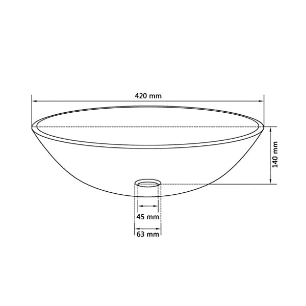 vidaXL Lavabo Transparente de Vidrio Templado 42 cm Lavamanos de Baño Tocador