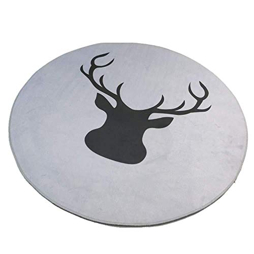 SWNN Carpet Runde Teppichmatte Innen, Geometrie rutschfeste Fußmatte Bodenmatte Schmutzfänger Matten Dia80cm 100cm 120cm (Color : Grey Antler, Size : Dia100cm)