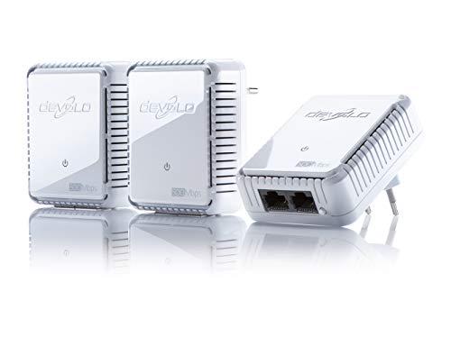 devolo dLAN 500 duo Network Kit Powerline 3x PowerLAN-Adapter, Internet aus der Steckdose, 2 integrierte LAN Ports